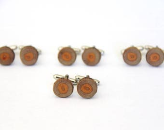 buckthorn - SMALL - ONE PAIR of natural wood cuff links