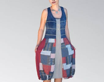 Bubble dress tank top Jersey Navy Blue, beige, Burgundy style patchwork