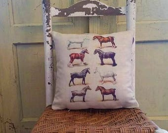 Horse pillow, Vintage lithograph pillow, Farmhouse decor, Horse farm