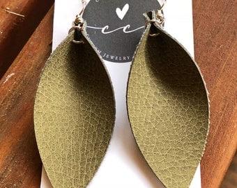 Olive Green Leather Leaf Earrings-Joanna Gaines Inspired Earrings-Large Leaf Earrings-Leather Dangle Earrings