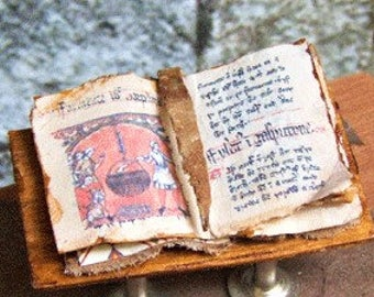 Dollhouse Miniature Open Book MEDIEVAL COOKBOOK Tudor Castle Witch Haunted Dollhouse
