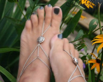 Foot bracelets and ring with flower (m1-2) bracelets