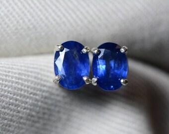 Sapphire Earrings, Blue Sapphire Stud Earrings 1.94 Carat Appraised at 1,550.00, September Birthstone, Certified Sterling Silver Jewellery