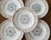 Vintage American Limoges, Mid-Century, Lyric Pattern, Bread and Butter Plates set of 5