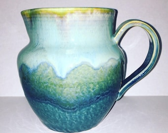 Pitcher ocean blue green wavy glazes