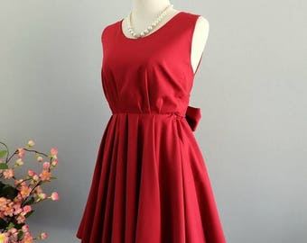 Flash SALE Red dress Blood red dress red party dress dark red prom dress bow back dress red bridesmaid dresses dark red backless dress