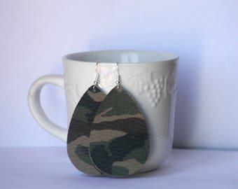 Camo Camouflage Brown Green Teardrop Drop Leather Earrings