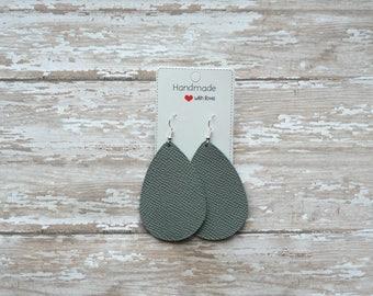 Gray Grey Saffiano Leather Teardrop Drop Earrings
