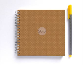 2018 Weekly Planner • SMALL 14cm/5.5in Square • Mustard Yellow Polka Dots