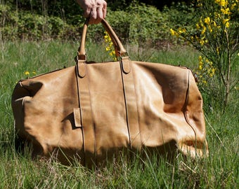 70's Calvin Klein Italian Tan Leather Large Travel Bag