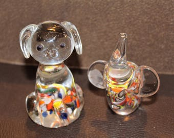 Vintage Glass Mouth Blown Dog And Elephant withMulti-Colored Flakes