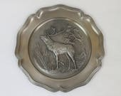 Vintage Embossed Pewter Wall Plate, with embossed Stag, Frieling-Zinn, Germany
