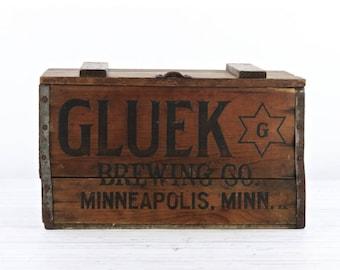 Vintage Gluek Beer Crate Vintage Beer Crate Gluek Wood Beer Crate Gluek Brewing Co. Minneapolis Minnesota Wooden Beer Crate Vintage Brewery