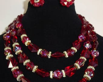 25% Off Vintage Three Strand Necklace and Earrings Made in Western Germany Cranberry Red Iridescent Beads with Necklace and Earrings