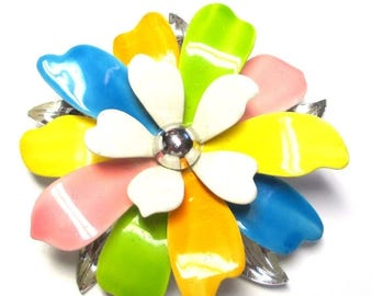 """25% Off Vintage Sarah Coventry """"Pastels"""" Brooch, Very Nice, Wedding Flower, Bouquet Pastel Colors 0055"""