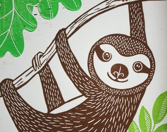 Sloth, Original Linocut Print, Signed Open Edition, Free Postage in UK, Hand Pulled, Printmaking,