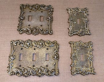 Vintage Brass Light Switch Plates Lot of Four Triple Double Single American Tack Hardware 1967