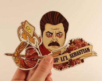 ron swanson stickers laptop labels tags parks and recreation illustration