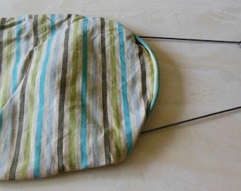Vintage Striped Clothes Pin Bag, Line Hanger Bar