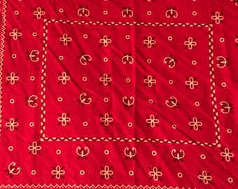 Vintage Bandana. Red Bandana. Vintage Fast Color Bandana. 80s Red Bandana. Made in the USA.
