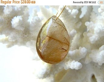 15% off SALE HUGE Rare Focal Bronze Golden Rutilated Quartz smooth briolette bead 23.5mm x 16mm