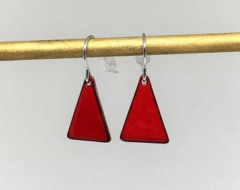 Bright red triangle enamel earrings hand made simple colorful earrings