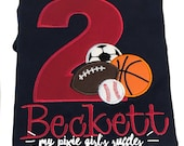 Monogrammed Sports Themed Birthday T-Shirt