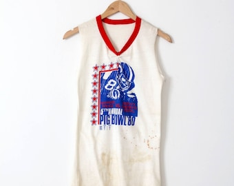 vintage football tank, 1980 Pig Bowl long muscle tee