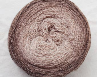 Pure Cashmere Gradient Yarn, Recycled, Beige, Brown, Oatmeal, Lace Weight, 650 yards,hand dyed, handpainted, lot #26