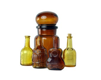 Vintage Bottle Collection, Lot of Five Brown and Amber Glass Bottles Instant Glass Collection