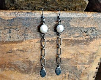 Fresh Water Pearl Bezel & Pewter Chain Earrings