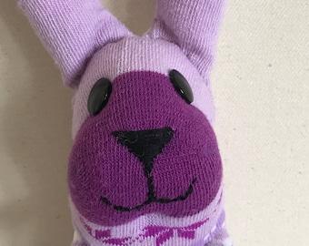 Purple Snowflake Sock Bunny