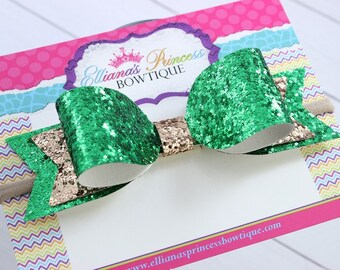 Baby Bows, Toddler Bows, Girls Hair Bows, Hair Clip, Boutique Hair Bow, Gold Green St. Patrick's Day Glitter Bow, Nylon Headband, 5 Inch Bow