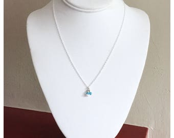 NEW! Light Blue Glass and Crystal Dainty Necklace 18inch silver handmade