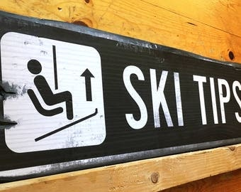 Ski Tips Up Ski Resort Sign, Handcrafted Rustic Wood Sign, Mountain Decor for Home and Cabin, 1052