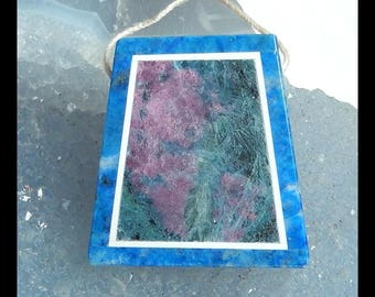 Ruby And Zoisite,Lapis Lazuli,White Jade,Obsidian Intarsia Pendant Bead,30x27x6mm,11.2g(f0411)
