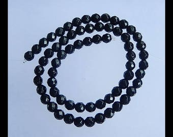 Natural Obsidian Faceted Loose Beads,1 Strand,39cm In The Lenght,6x6mm,19.1g(h0720)
