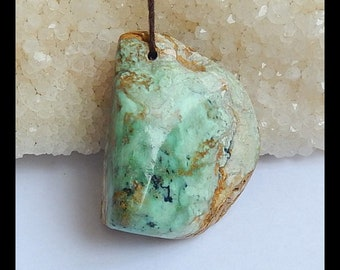 Natural Green Turquoise Gemstone Pendant Bead, 40x32x20mm,26.8g(v0292)