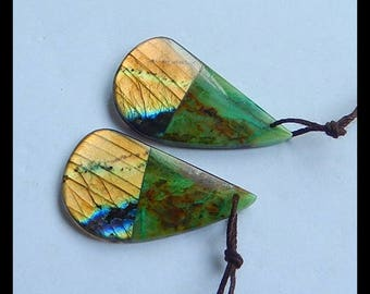 New,Labradorite,Chrysocolla Intarsia Gemstone Earring Bead,35x20x4mm,8.8g,-E7419
