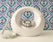 White Donut Phone, Vintage Donut Phone, Mid Century Retro Rare Telephone