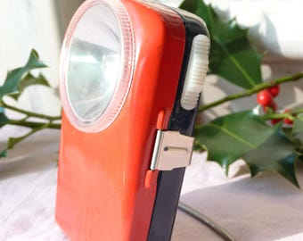 Vintage French Red Hand Held Metal WONDER Lantern - Torch - Industrial Decor - Retro - Camping Latern - In Working Condition - Wallhanging