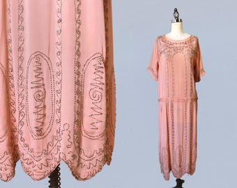 1920s Dress / 20s PINK Beaded Dress / Wave Motifs! / Peachy Pink with Silver Beadwork