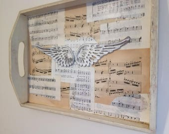 Music Sheet Collage Wing Tray Wall Decor