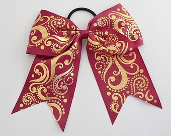 Cheer Bow Wine with  Gold Holographic Foil Swirls Back to School Bows