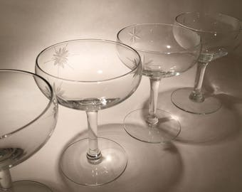 6 Vintage Champagne Coupes with Cut Stars