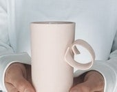 Ribbon porcelain cup pink bone china cup handmade in UE by ENDE