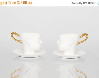 SALE Porcelain coffee cup,  ceramic cups, white and gold, cups set, with saucers tea mug, china cup, set of two