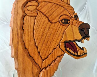 Handmade Intarsia Bear Wall Hanging
