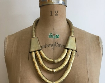 Vintage 70s 80s Boho Tribal Gold Bead Necklace 1970s 1980s Egyptian Revival Necklace