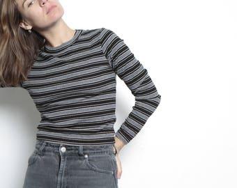 90s club kid MINI striped tube top long sleeve striped shirt